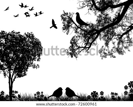 Abstract nature background with birds and tree, in black and white, vector illustration - stock vector