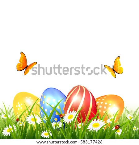 Abstract Nature Background With Colored Easter Eggs In Grass Orange And Yellow Butterflies Flying Over