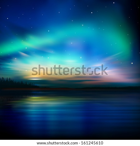 abstract nature background with forest and aurora borealis - stock vector