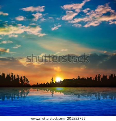 abstract nature background with forest lake clouds and sunrise - stock vector