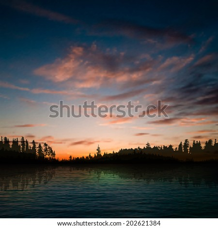 abstract nature background with forest lake clouds and sunset