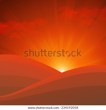 abstract nature background with golden sunrise in mountains - stock vector
