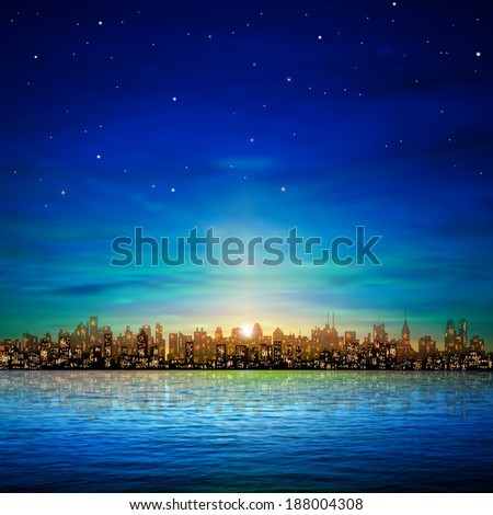 abstract nature background with panorama of city and clouds - stock vector