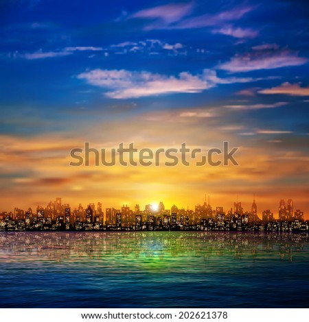 abstract nature background with panorama of city clouds and golden sunset - stock vector