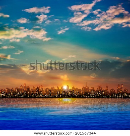 abstract nature background with panorama of city clouds and sunset - stock vector