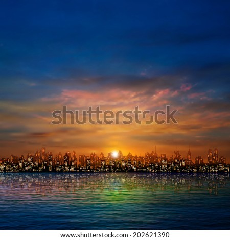 abstract nature background with panorama of city golden clouds and sunset - stock vector