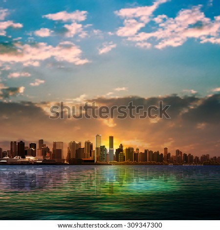 abstract nature background with panorama of Vancouver and dark clouds