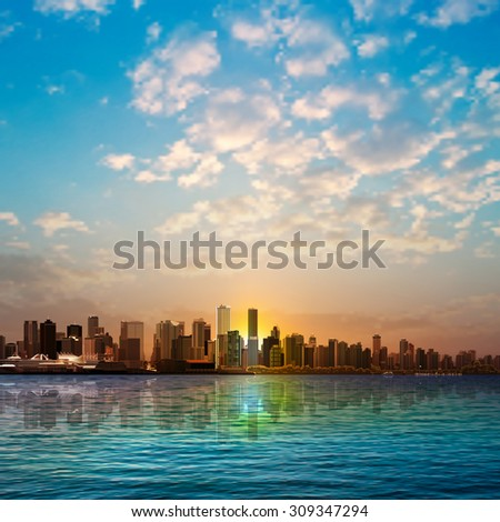 abstract nature background with panorama of Vancouver and white clouds - stock vector
