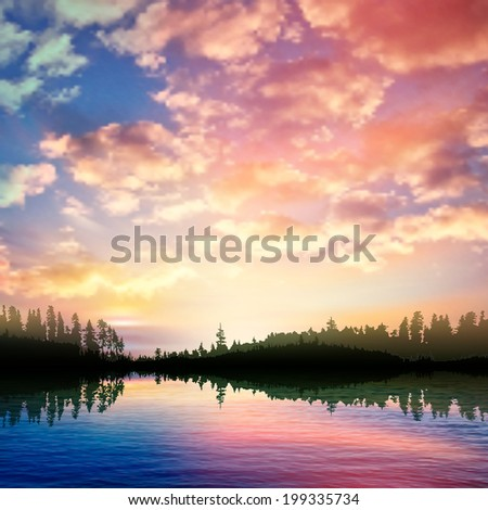 abstract nature background with sunrise on forest lake and pink clouds - stock vector