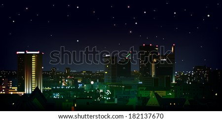 abstract nature black background with stars and cityscape