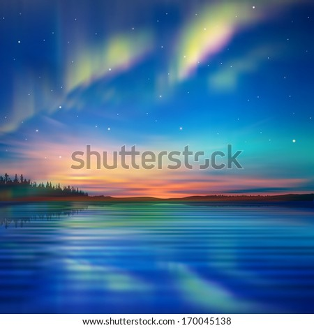 abstract nature blue background with aurora borealis and forest - stock vector