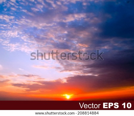 abstract nature blue background with sunset and clouds - stock vector