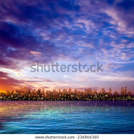 abstract nature blue sky background with panorama of city and clouds - stock vector