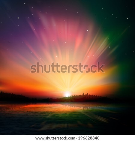 abstract nature dark background with forest lake and sunrise - stock vector