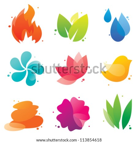 Abstract nature isolated icons set for spa business, beauty salon, beauty treatment, yoga, health. EPS10 file with transparent objects - stock vector