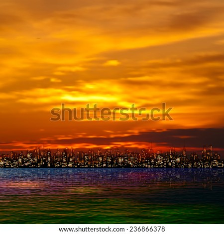 abstract nature red background with panorama of city and clouds - stock vector