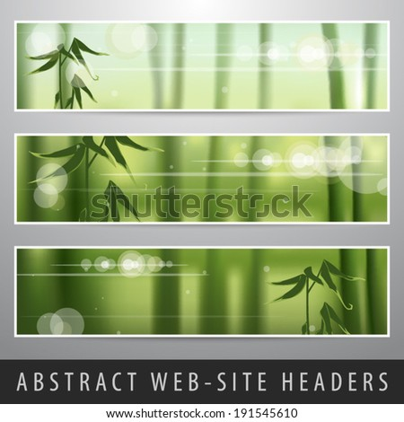 Abstract nature web-site headers set vector illustration - stock vector