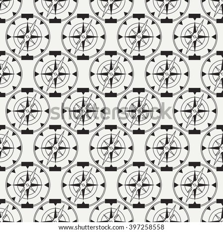 Abstract nautical seamless background pattern with mariners compass. Vector illustration texture for design, wallpaper.
