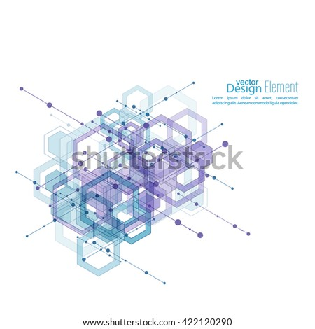 Abstract neat  Background with transparent cubes, hexagons carcass. Techno design of future, minimalism. technology, science and research. cyberspace cells. Digital Data Visualization.  - stock vector