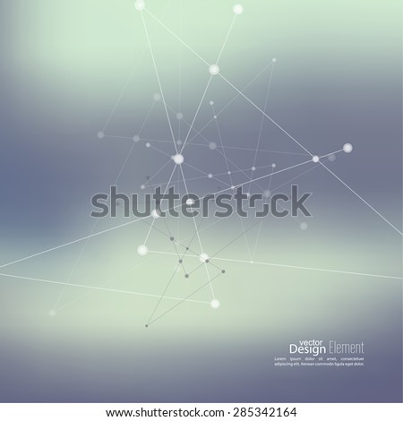 Abstract neat Blurred Background with Dots Array and Lines. Connection Structure. Geometric Modern Technology Concept. Digital Data Visualization. Social Network. Gradient color. - stock vector