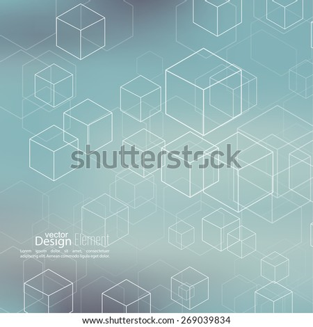 Abstract neat Blurred Background with transparent cubes and hexagons. Techno design of the future, minimalism. technology, science and research. cyberspace to cells. Data. - stock vector