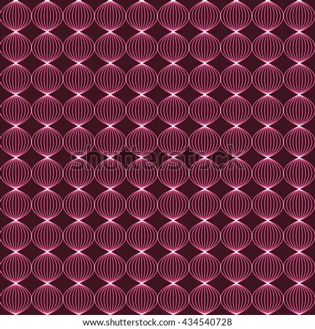 Abstract neon background with twisted bulbs. Dark pink color. Seamless vector illustration. Repeated sphere formed by braided lines. - stock vector