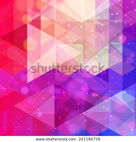 Abstract neon colorful triangle pattern background. Vector.  - stock vector
