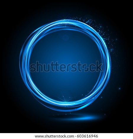 energy easy trail black trace rings circle vector neon version color background sparkle use swirl banner blue glowing light on to glitter magic effect fire frame shining ring