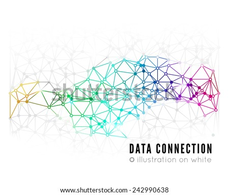 Abstract network connection. Vector technology background on white - stock vector