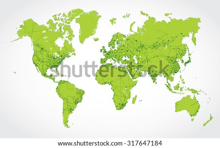 Abstract network map of the world - stock vector