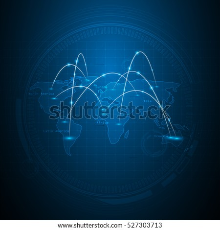 abstract networking world map global technology innovation concept background
