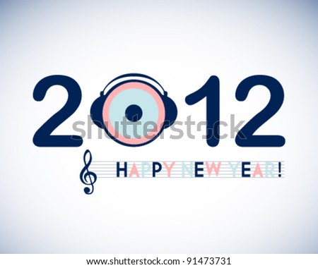 abstract new year background vector illustration with music note and headphone - stock vector
