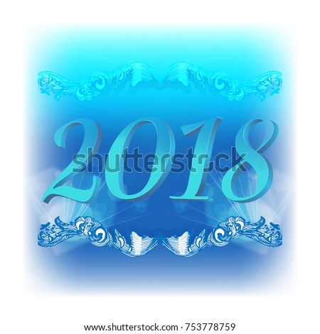 Abstract New Year background with blue tones with three-dimensional figures 2018, vignette and bokeh effect