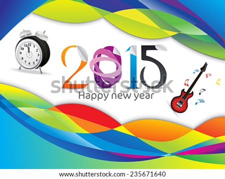 abstract new year background with clock and guitar vector illustration - stock vector