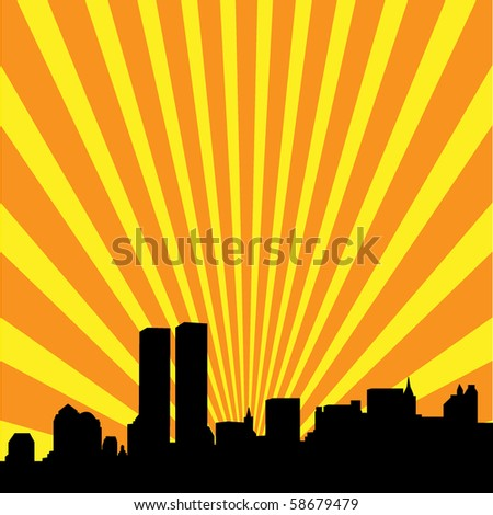 Abstract New York Skyline with the Twin Towers - stock vector