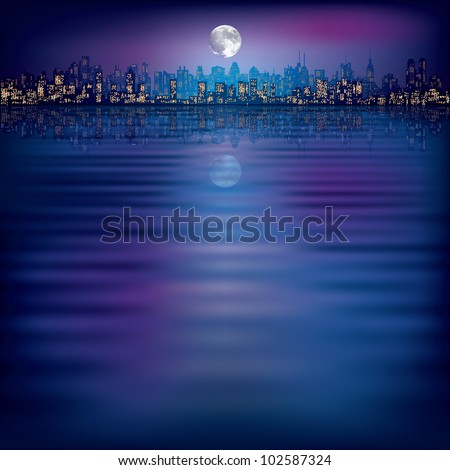 abstract night background with silhouette of city and moon - stock vector