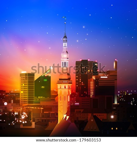 abstract night background with Tallinn and red sunset