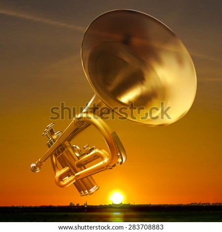abstract night golden background with city and trumpet