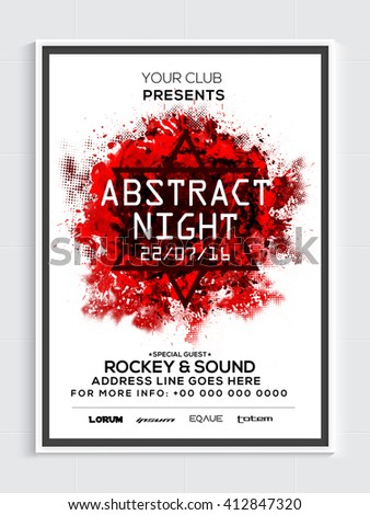 Abstract Night Party Template, Dance Party Flyer, Musical Party Banner or Club Invitation design. - stock vector