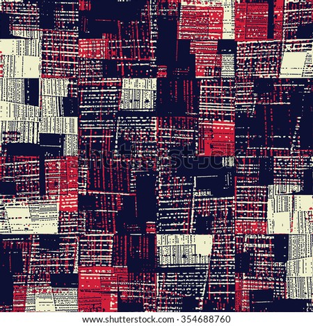 Abstract noisy strokes and blocks. Seamless pattern. - stock vector