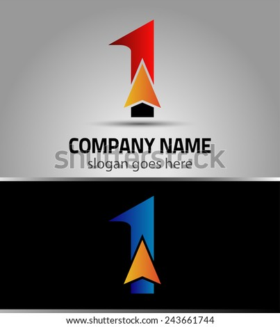 Abstract Number 1 logo Symbol with arrow  - stock vector