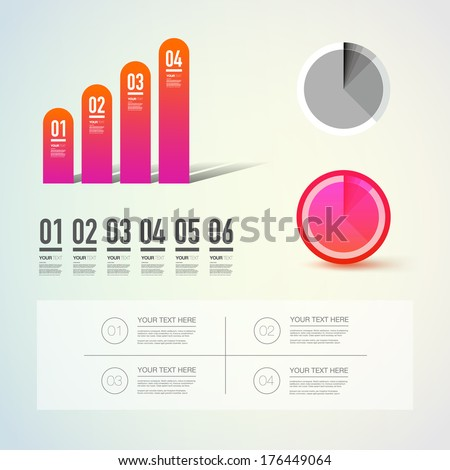 Abstract numbered ascending colorful infographic columns and diagram set with your text  Can be used for workflow layout, diagram, number options, web design. Eps 10 vector illustration   - stock vector