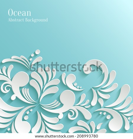Abstract Ocean Background with 3d Floral Pattern. Trendy Design Template - stock vector