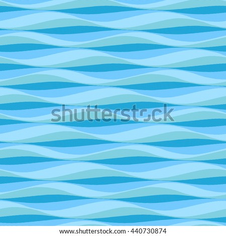 Abstract ocean waves background. Vector seamless deep blue sea wavy pattern. - stock vector