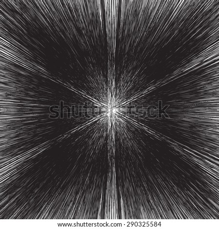 Abstract of warp or hyperspace motion star trail in black and white. - stock vector