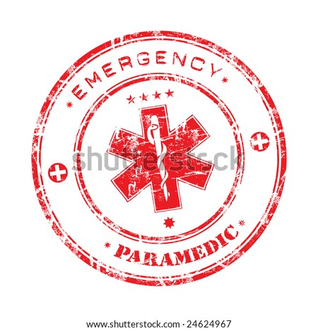 Abstract office rubber stamp with the emergency medical care symbol and the words paramedic and emergency written around the symbol