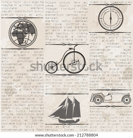 Abstract old grunge vintage newspaper with old car, globe, compass, ship, bike, seamless vintage background. - stock vector