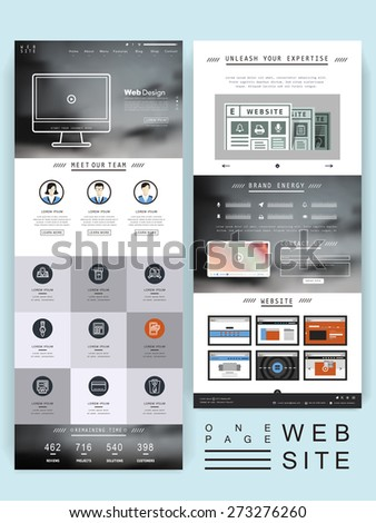 abstract one page website template design with blurred background