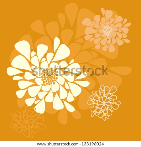 Abstract orange background with flowers - stock vector