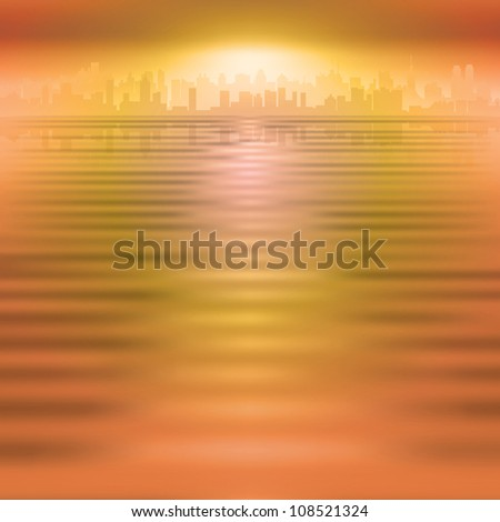 abstract orange background with silhouette of city - stock vector